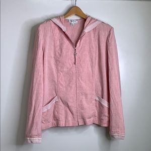 ST. JOHN SPORT • Linen Blend Rose Zip Up Jacket